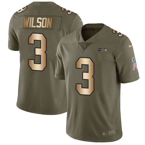 Men's Nike Seattle Seahawks #3 Russell Wilson Limited Olive/Gold 2017 Salute to Service NFL Jersey