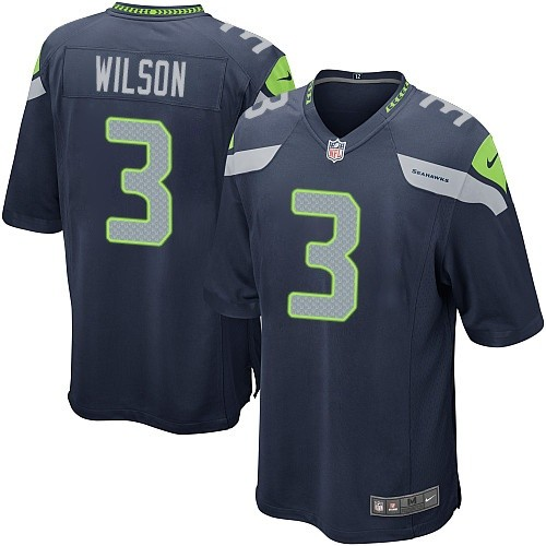 Men's Nike Seattle Seahawks #3 Russell Wilson Game Navy Blue Team Color NFL Jersey