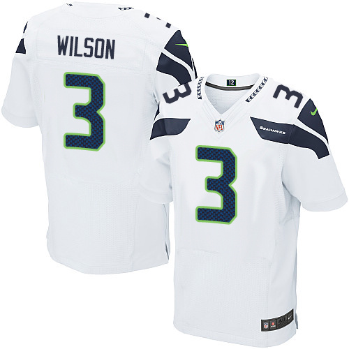Men's Nike Seattle Seahawks #3 Russell Wilson Elite White NFL Jersey