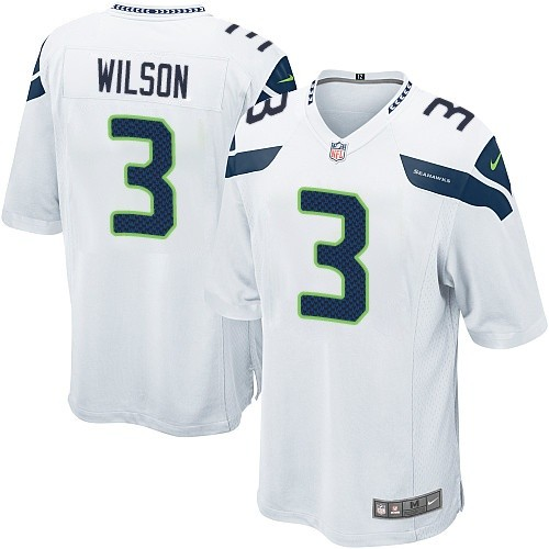 Men's Nike Seattle Seahawks #3 Russell Wilson Game White NFL Jersey