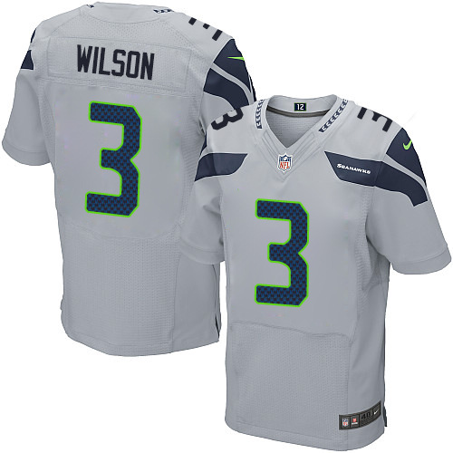 Men's Nike Seattle Seahawks #3 Russell Wilson Elite Grey Alternate NFL Jersey