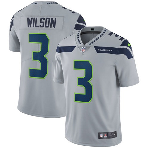 Men's Nike Seattle Seahawks #3 Russell Wilson Grey Alternate Vapor Untouchable Limited Player NFL Jersey