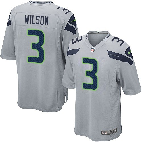 Men's Nike Seattle Seahawks #3 Russell Wilson Game Grey Alternate NFL Jersey
