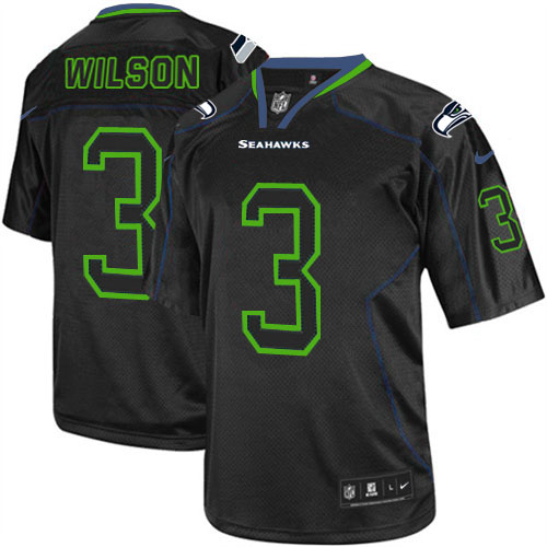 Men's Nike Seattle Seahawks #3 Russell Wilson Elite Lights Out Black NFL Jersey