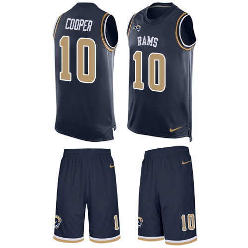Men's Nike Los Angeles Rams #10 Pharoh Cooper Limited Navy Blue Tank Top Suit NFL Jersey