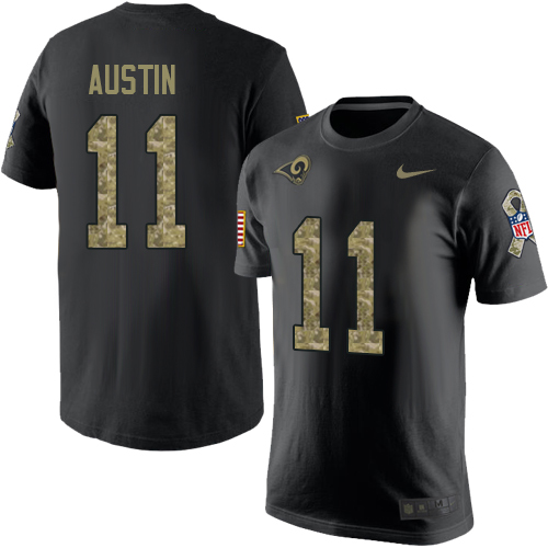 Men's Nike Los Angeles Rams #11 Tavon Austin Black Camo Salute to Service T-Shirt