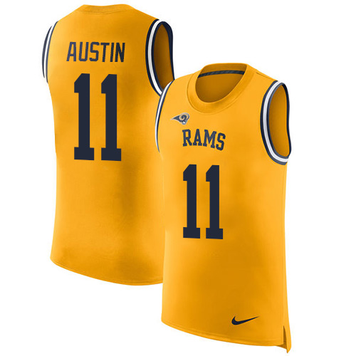 Men's Nike Los Angeles Rams #11 Tavon Austin Limited Gold Rush Player Name & Number Tank Top NFL Jersey