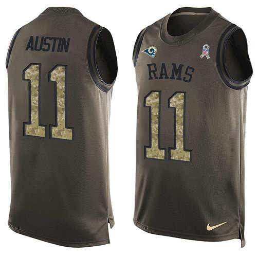 Men's Nike Los Angeles Rams #11 Tavon Austin Limited Green Salute to Service Tank Top NFL Jersey